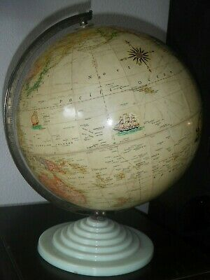 "Vintage Rand McNally 12"" Nautical Theme Globe Art Deco Glass Base"