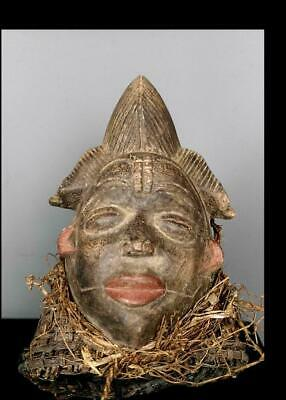 Old Tribal Unusual Punu Maiden Spirit Headdress Mask Gabon fes gb533 @ 22