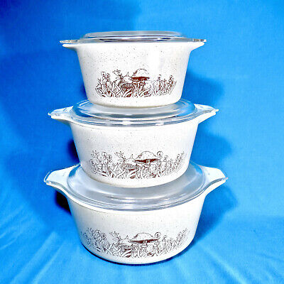 Vintage Pyrex Forest Fancies Mushroom 6pc Casserole Nesting Mixing Bowl Set