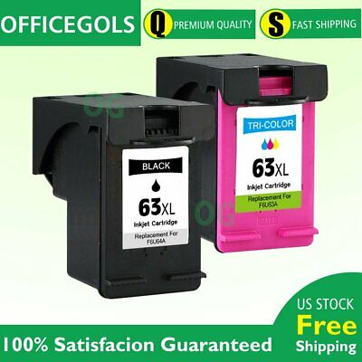2 Combo Ink Cartridges for HP 63XL OfficeJet 3830 4650 5220 5230 5252 5255 5258