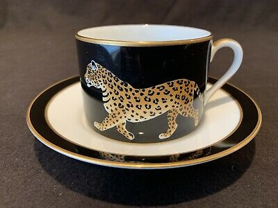 Lynn Chase Jaguar Jungle Cup and Saucer Tea Coffee 24K Gold Sold Individually