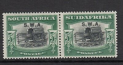 SOUTH WEST AFRICA-1927-30 5/- Black & green.   mounted mint pair Sg 66