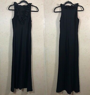 Elie Tahari Women's Size 4 Sleeveless Maxi Dress Ruffle Neckline Black