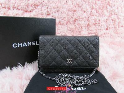05d10afb04d1f9 07A CHANEL Black Crackled Calfskin Quilted Wallet On Chain WOC Silver HW