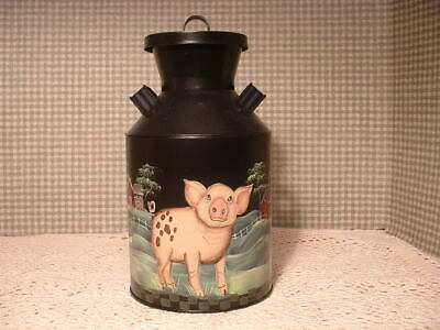 Vintage Small Metal Container Pigs Country Farms Hand Painted Folk Art By Jmd