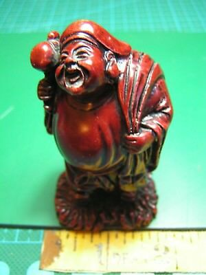 """Vintage Chinese Red Resin Immortal With Hammer Figure 3"""" High"""