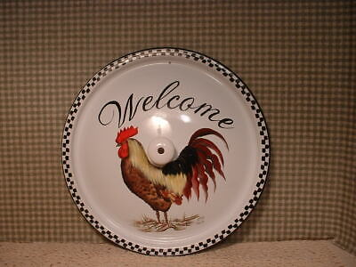Vintage Enamel  12 Inch  Lid. Rooster Welcome Painted Folk Art By Jmd