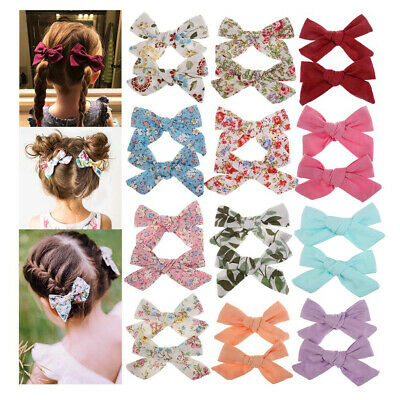 2Pcs Baby Kids Teens Big Hair Bows Knot Hair Clips Girls Infant Toddler Hairpin