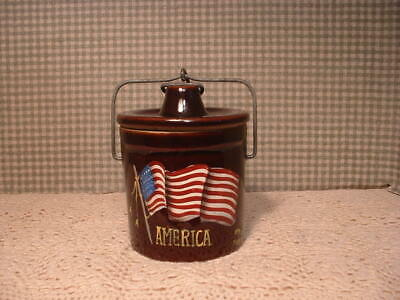 "Vintage Small Crock 5"" High  American Flag Hand Painted Folk Art By Jmd"