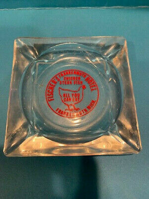 Vintage Souvenir Ashtray, Fischer's Frankenmuth Hotel, All You can Eat Chicken