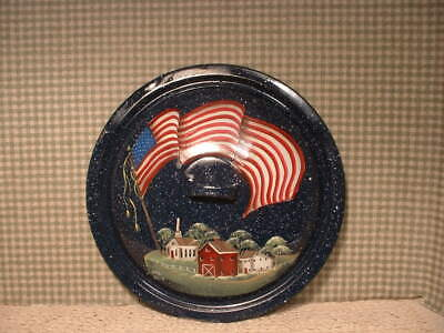 Vintage Enamel  11 1/2  Inch  Lid. Flag, Farms,  Welcome Painted Folk Art By Jmd