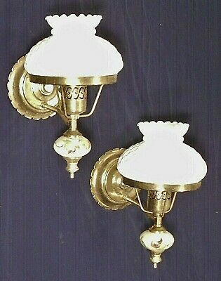 Vintage Pair Of Mid Century Brass Sconces With Milk Glass Shades