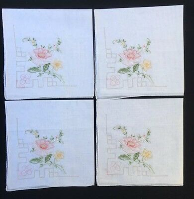 4x Vintage Maderia Hand Embroidered Handkerchiefs New Floral