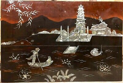 20th-C Japanese Lacquerware Plaque Picture Art Wall Hanging Inlaid MOP 15x23
