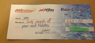 Jet2Holidays £60 Rain Cheque voucher Valid until March 2020 Newest Date