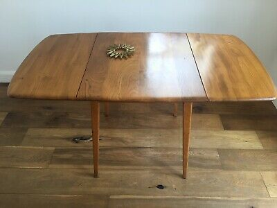1960s Genuine Ercol Elm And Beech Drop Leaf Dining Table