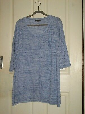 Womens Plus Size 20 Belle Curve Blue Marle/White Top Bnwot (Ph25-97)