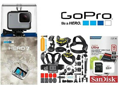 GoPro HERO7 White Waterproof Action Camera Touch Screen Lot of Accessories 16GB
