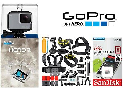 GoPro HERO7 hero 7 White Waterproof Action Camera Touch Screen 1080p Video 32GB