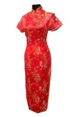 29689fbbf366 VTG Asian Women Chinese Red Wedding Evening Prom Long Dress Gown Cheongsam  Qipao