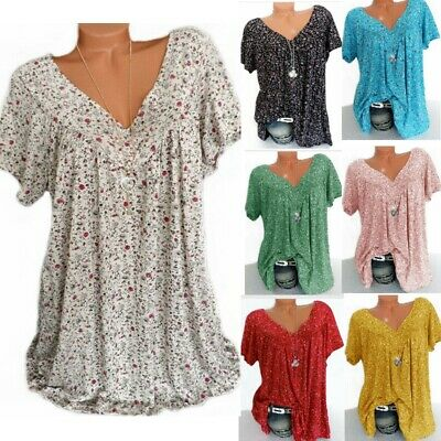 Summer Womens Floral Blouse V Neck Tops Ladies Short Sleeve T-Shirts Size 8-22