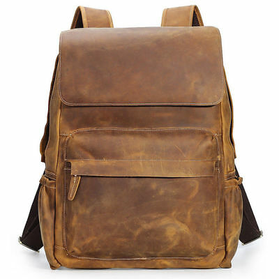 "Real Leather Travel Backpack For Men Work 15"" Laptop Satchel Daypack School Bag"