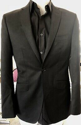 TED BAKER Endurance LOVELY WHISTLE Black Suit Jacket 100% Wool Mens Size 36R-EUC