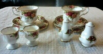 ROYAL ALBERT ENGLAND OLD COUNTRY ROSE 10 Pce BREAKFAST SET FOR 2 1962+ FREE POST