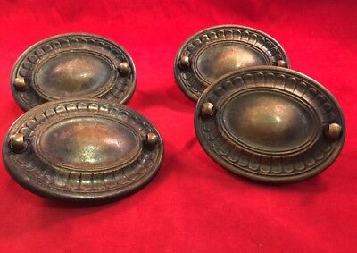 """4 Antique Vintage Brass Drawer Drop Bail  Oval 3"""" Back Plate Only No Handles"""