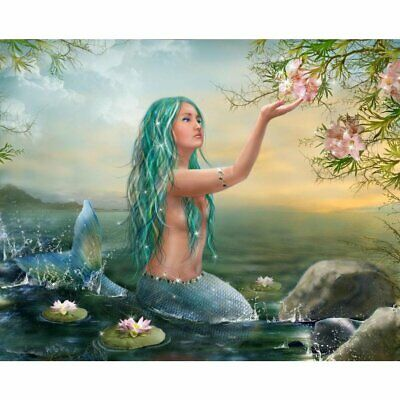 Wall Art Of Mermaid With Flowers Unframed Canvas Painting For Home Adornment