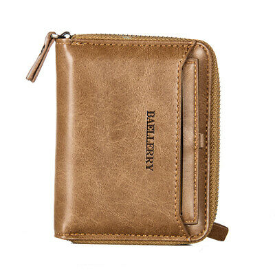 Men's Leather Business Wallet with COINS POCKET Zipper Purse Card holder NEW