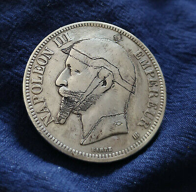 5 francs NAPOLEON III 1869 BB argent SATIRIQUE sedan casque à pointe