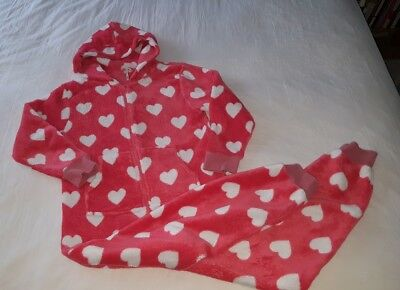 Girl's Next Pink Heart Fleece All in One Age 10 - 11 - 12 yrs