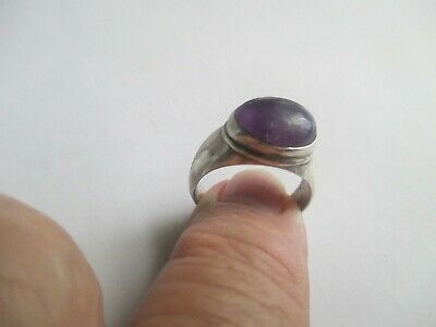 Amethyst Ring (oval) ..STERLING SILVER.on band..solid/sturdy.Nice size .New
