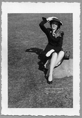 #284 OFF CENTER Woman on a Rock, Vintage Photo