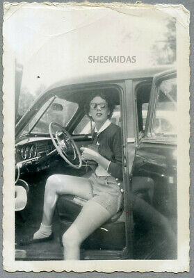 #286 Sitting in the Driver's Seat, Woman, Car, Vintage Photo