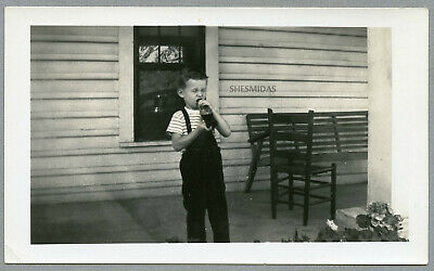 #289 Ready to Take a Swig, Young Boy With a Bottle, Vintage Photo