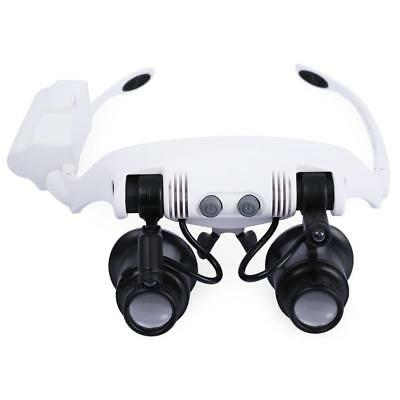 8 Lens Magnifier Magnifying Eye Glass Jeweler Watch Repair Loupe With LED Lights