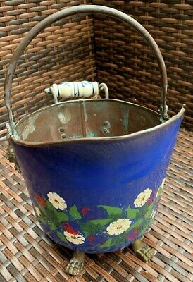 Vintage Painted Copper Pot with Ceramic Handle, Lions Heads & Feet 30cm High