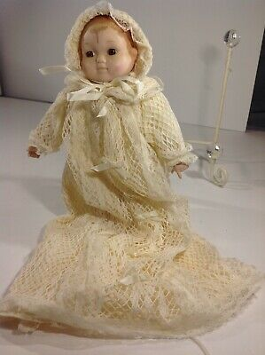 """Vintage Doll Porcelain Head Hands 9"""" Musical Doll In Delicate Christening Gown"""