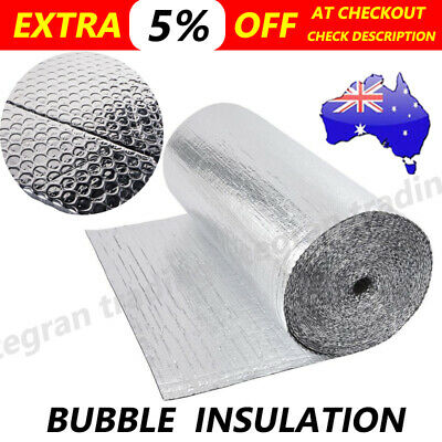 Reflective Aluminum Air Bubble Foam Foil Roof Insulation10/20/30M*1.2M Silver AU