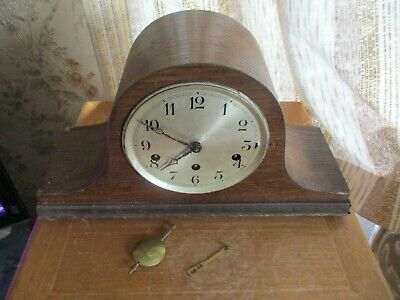 vintage  oak cased nappolian hat  chiming mantle  clock/