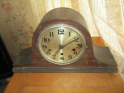 vintage haller  oak cased nappolian hat  chiming mantle  clock/