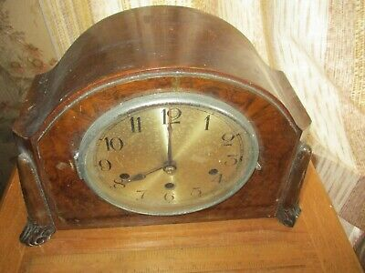 vintage art deco vanered  oak cased  chiming mantle  clock/