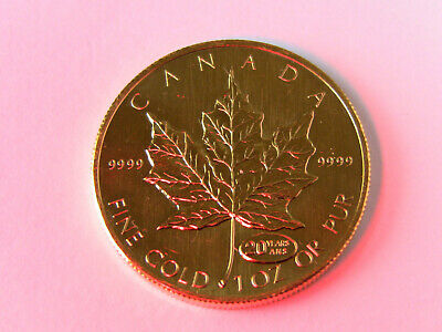 1999 1 oz. Gold Canadian Maple Leaf Coin 20 year anniversary .9999 Pure Gold