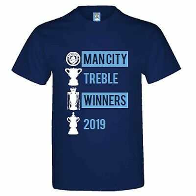 Official Manchester City Treble Winners 2019 & Champions T-Shirt