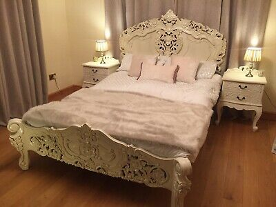French Rococo White Double Size Wooden Carved Bed Frame