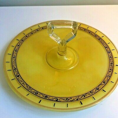 Vintage Yellow Depression Glass 10-1/2 Inch Serving Platter Dish with Handle