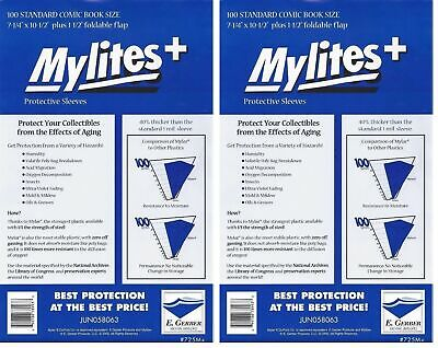 200 Mylites+ STANDARD SIZE  1.4-mil Mylar Comic Bag Sleeves 725M+ by E. Gerber
