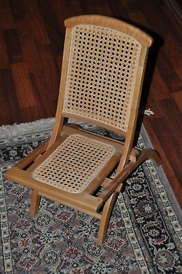 Vintage Child's Wooden Folding Chair with Cane Bottom & Back